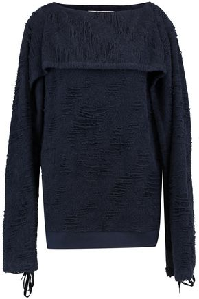CHALAYAN Draped cotton-blend bouclé top