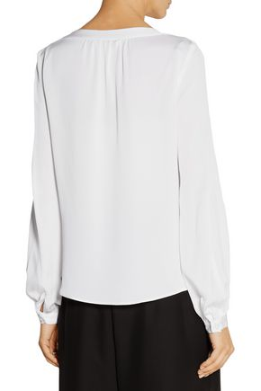 MILLY Embellished stretch-silk blouse