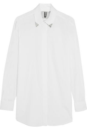 TOPSHOP UNIQUE Embellished cotton-poplin shirt