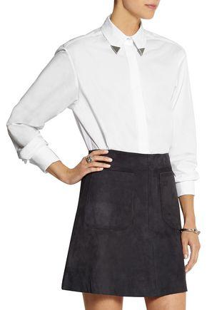 TOPSHOP UNIQUE Embellished cotton-poplin shirt