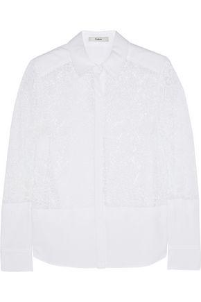 ERDEM Beatrix lace and cotton-blend piqué shirt