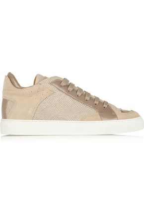 MM6 MAISON MARGIELA Patent and lizard-effect leather and suede sneakers