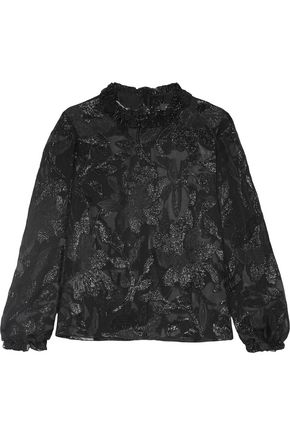 ISABEL MARANT Udell ruffle-trimmed fil coupé top