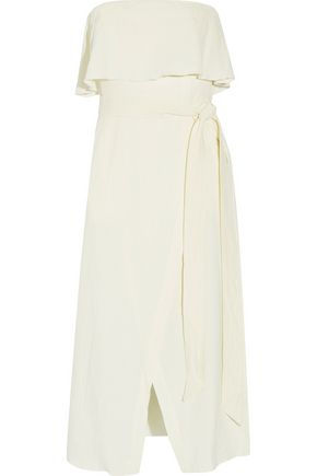 VIX PAULAHERMANNY Ruffled linen-blend voile midi dress