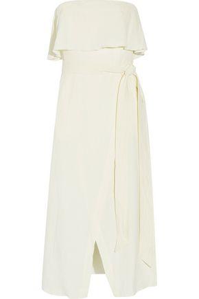 VIX Ruffled linen-blend voile midi dress