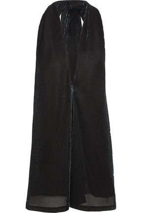 JIL SANDER Metallic ribbed-knit halterneck top