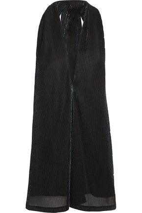 JIL SANDER Metallic ribbed-knit halterneck top