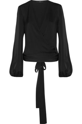 •ELLERY• Missionary silk-blend satin wrap blouse