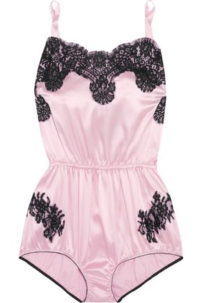 DOLCE & GABBANA Lace-trimmed satin playsuit