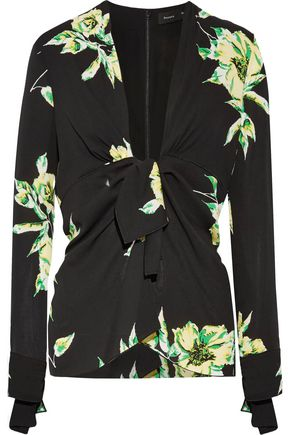 PROENZA SCHOULER Knotted floral-print silk-crepe blouse