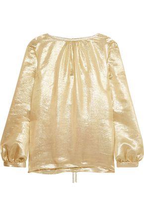 OSCAR DE LA RENTA Silk-blend lamé blouse