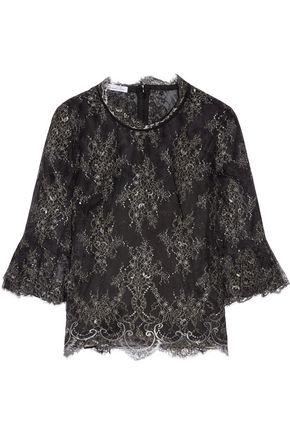 OSCAR DE LA RENTA Chantilly lace top