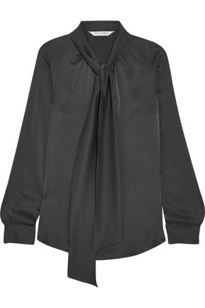 MAX MARA Pussy-bow silk-satin blouse