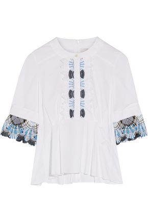 PETER PILOTTO Lace-trimmed stretch cotton-blend poplin peplum top
