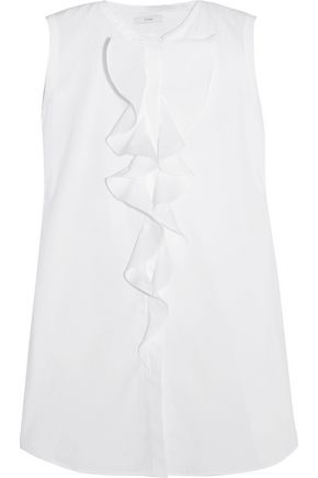 TOME Open-back ruffled cotton-poplin top