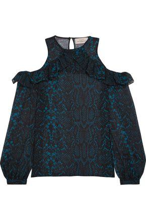 PREEN by THORNTON BREGAZZI Zacharia cutout printed silk-georgette blouse