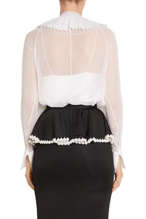 GIVENCHY Faux pearl-embellished silk-chiffon blouse