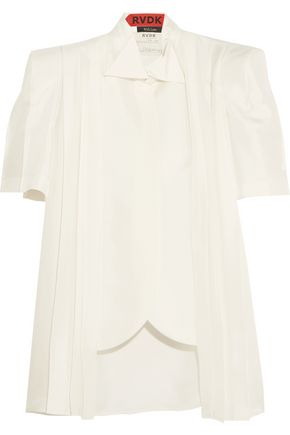 RONALD VAN DER KEMP Pleated silk blouse