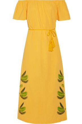 SENSI STUDIO Off-the-shoulder embroidered cotton midi dress