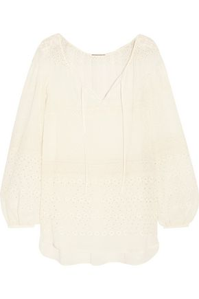 SAINT LAURENT Broderie anglaise georgette blouse