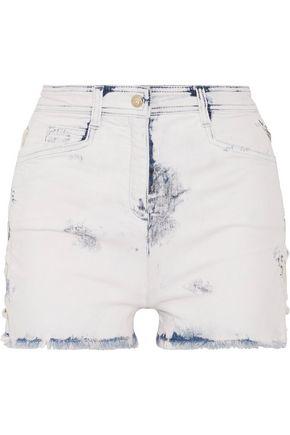 BALMAIN Lace-up distressed denim shorts