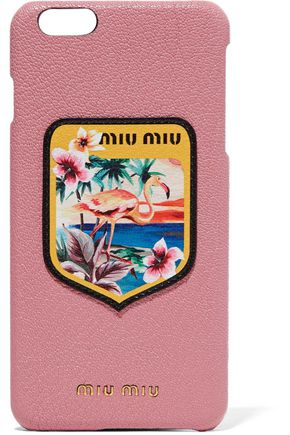 MIU MIU Appliquéd printed textured-leather iPhone 6 Plus case