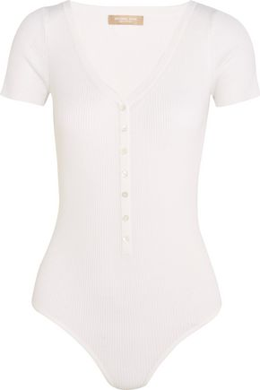 MICHAEL KORS COLLECTION Ribbed stretch merino wool-blend bodysuit