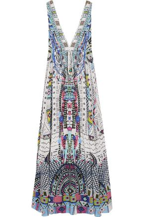 CAMILLA Maasai Mosh crystal-embellished printed silk crepe de chine maxi dress