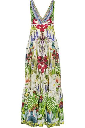 CAMILLA Exotic Hypnotic crystal-embellished silk crepe de chine maxi dress