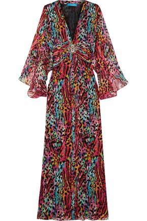 MATTHEW WILLIAMSON Akita embellished printed silk-chiffon maxi dress