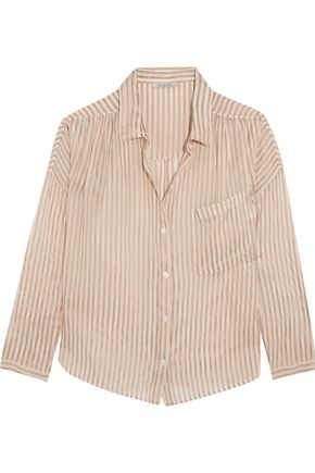 MES DEMOISELLES Comma metallic striped chiffon shirt