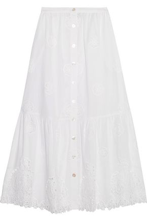MIGUELINA Adrienne broderie anglaise cotton midi skirt