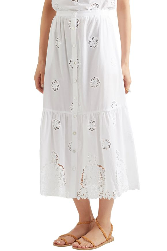 Adrienne broderie anglaise cotton midi skirt | MIGUELINA | Sale up to 70%  off | THE OUTNET