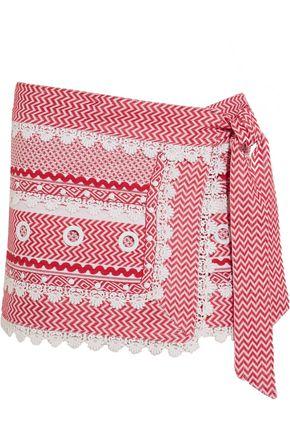 DODO BAR OR Embellished lace-trimmed cotton-jacquard wrap mini skirt