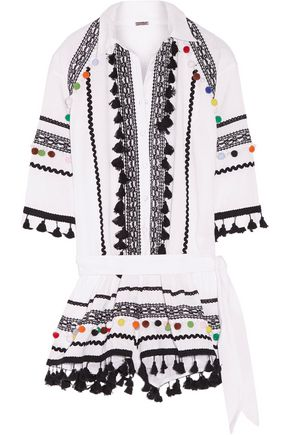DODO BAR OR Embellished embroidered cotton-gauze playsuit