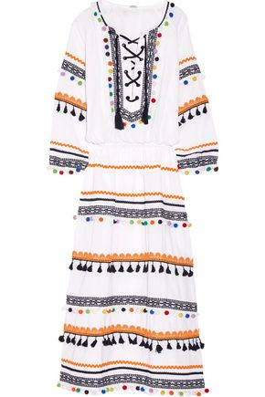 DODO BAR OR Embellished embroidered cotton-gauze midi dress