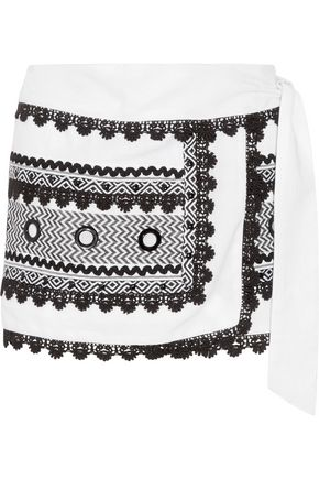DODO BAR OR Embellished embroidered cotton-gauze wrap mini skirt
