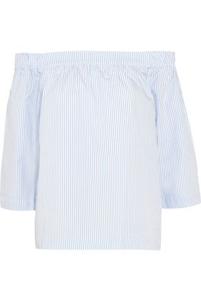 MADEWELL Off-the-shoulder striped cotton-poplin top