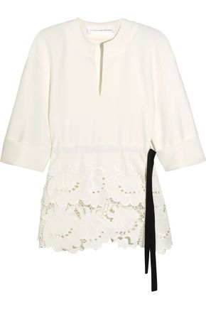 VICTORIA, VICTORIA BECKHAM Delft broderie anglaise stretch-cady top