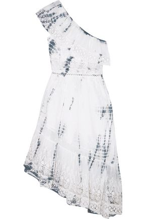 LOVESHACKFANCY Pamela one-shoulder tie-dyed cotton-gauze dress