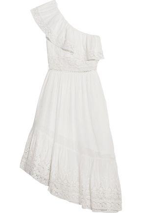 LOVESHACKFANCY Pamela one-shoulder tie-dyed cotton-gauze dress