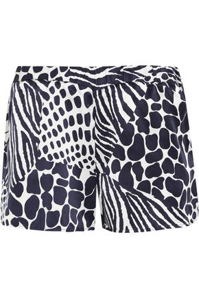 EQUIPMENT Landis animal-print washed-silk shorts