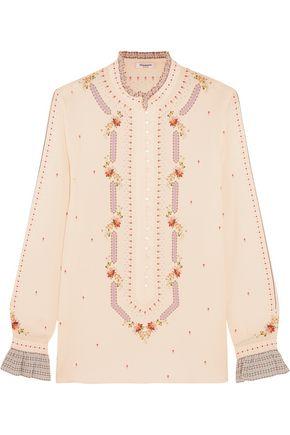 VILSHENKO Floradita printed silk crepe de chine blouse