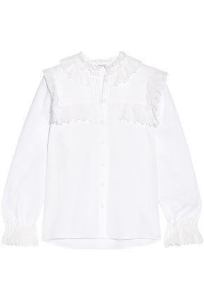 VILSHENKO Poppy broderie anglaise-trimmed textured-cotton blouse
