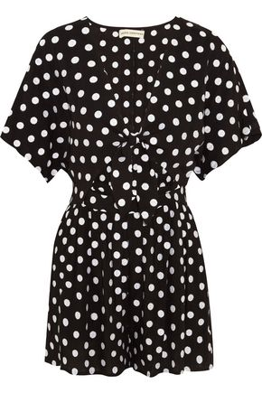 MARA HOFFMAN Polka-dot embroidered poplin playsuit