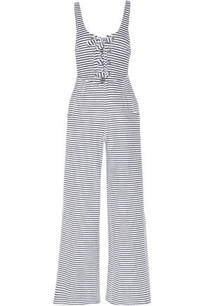 MARA HOFFMAN Striped organic cotton-blend terry jumpsuit