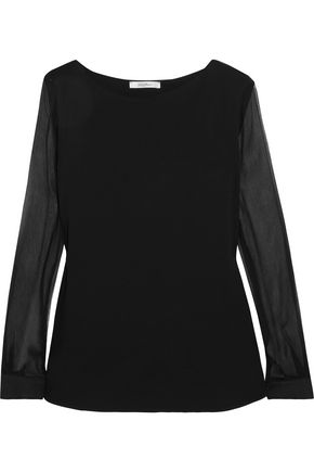 MAX MARA Plissé silk-chiffon and linen-paneled stretch-jersey blouse