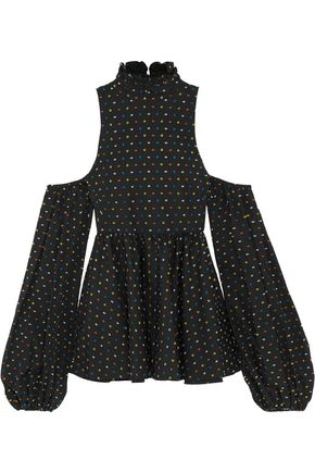 CAROLINE CONSTAS Cold-shoulder Swiss-dot cotton top