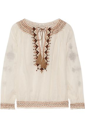 TALITHA Sindhi embroidered cotton-voile blouse