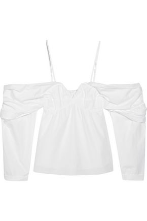 J.W.ANDERSON Cold-shoulder ruched cotton-poplin top